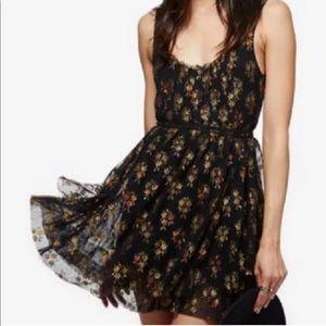 Free People Heart it Races Mini Dress Black Floral